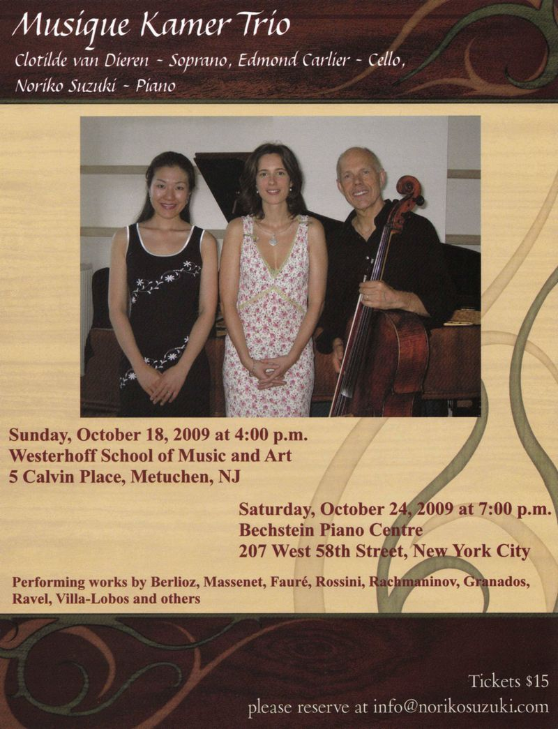 Musique Kamer Trio flyer for e-mail invitation